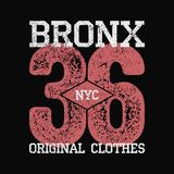Bronx, NYC vintage graphic for number t-shirt. Original clothes design with grunge. Authentic apparel typography. Retro sportswear. Print. Vector illustration Stock Image