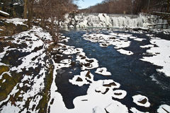 Bronx River in Snow, New York City royalty free stock images