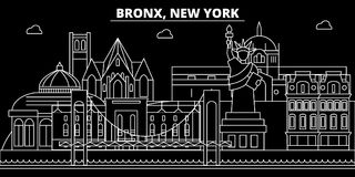 Bronx silhouette skyline. USA - Bronx vector city, american linear architecture, buildings. Bronx travel illustration. Bronx silhouette skyline. USA - Bronx Stock Image