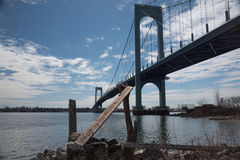Bronx-Whitestone Bridge connecting Bronx to the Queens in New York City. Royalty Free Stock Photo