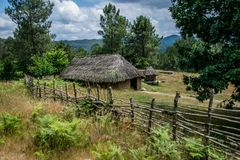 Houses of a Celtic people in Galicia, Spain royalty free stock image