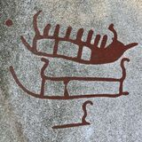 Bronze age Ship carving Stock Photo
