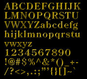 Bronze Alphabetical Letters, numbers and symbols Stock Images