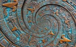 Bronze ancient antique classical spiral aztec ornament pattern decoration design background. Surrealistic abstract texture fractal stock image