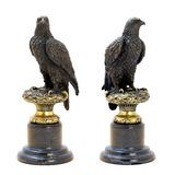 Bronze antique figurine of the eagle. Stock Photos