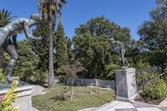 Bronze Atheletes On The Terrace At The Achilleion Palace On The Island Of Corfu Greece Built By Empress Elizabeth Of Austria Sissi Stock Photos
