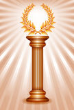 Bronze award column with laurel wreath Stock Photography