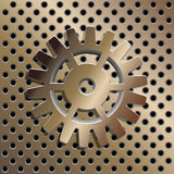Bronze background with gold gear. Royalty Free Stock Images