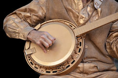 Bronze banjo player Royalty Free Stock Image