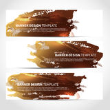 Bronze banners watercolor imitation background Stock Photo