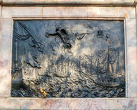Bronze bas-relief Battle of Gangut at the bronze equestrian monument to Peter I in Saint Petersburg, Russia Stock Image