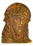 Bronze bas-relief with head of Jesus Christ Stock Image
