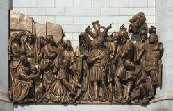 Bronze bas-relief in Temple of Christ, Moscow. Bronze bas-relief on the wall of Temple of Christ our Saviour in Moscow, Russia Royalty Free Stock Images
