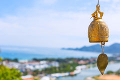 Bronze bell at a Buddhist temple in Thailand Royalty Free Stock Images