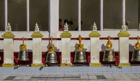 Bronze bells at Buddhist pagoda royalty free stock image