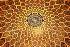 The bronze and blue ceiling in Arabic style. royalty free stock image