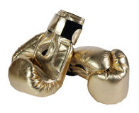 Bronze boxing-gloves. On the white background. (isolated Royalty Free Stock Images