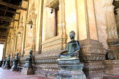 Bronze Buddha statue at the Haw Phra Kaew Stock Photos