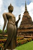Bronze buddha statue Sukhothai temple thailand Royalty Free Stock Photo