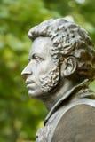 The bronze bust of Pushkin in Gomel. Belarus. The bronze bust of famous russian poet Alexander Pushkin in Gomel. Belarus royalty free stock photos