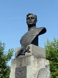 A bronze bust to the military pilot Pavel Plotnikov on Liberty Square in Barnaul. Royalty Free Stock Photo