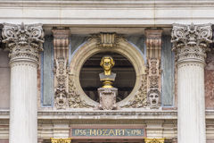 Bronze busts of Mozart on front Facade Opera Stock Images