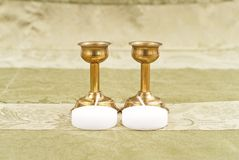 Bronze Candle Holders Stock Photo