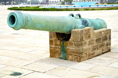 Bronze cannon in     africa morocco Royalty Free Stock Photo