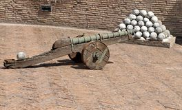 Bronze cannons and the marble cannon balls to Castel Sant'Angelo Royalty Free Stock Photo