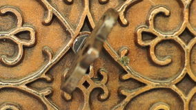 Bronze Casket with the Key in the Keyhole stock video