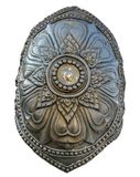 Bronze cast art of Naga shield, the big snake creature in Buddhism fable. Bronze cast art of Naga shield, the big snake creature in Buddhism fable in front of royalty free stock photography