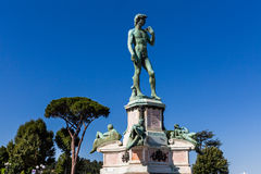Bronze cast of David at the Piazzale Michelangelo in Florence, I Stock Photos