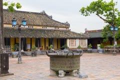 Bronze cauldron on courtyard of Hue citadel stock photography