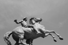 Bronze cavalier statue in Turin Stock Photos
