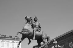 Bronze cavalier statue in Turin Royalty Free Stock Photography