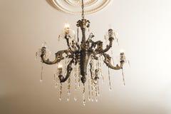 Bronze chandelier with crystals Stock Photos