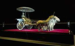 Bronze chariot of emperor in Xian terracotta army museum, 5 Febr. Bronze chariot of emperor in Xian terracotta army museum royalty free stock photography