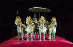 Bronze chariot of emperor in Xian terracotta army museum, 5 February 2015, Prague Stock Photo