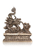 Bronze of chinese dragon isolated with clipping path. Royalty Free Stock Photos