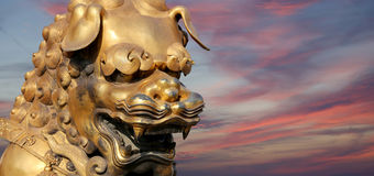 A bronze Chinese dragon statue in the Forbidden City. Beijing Royalty Free Stock Images