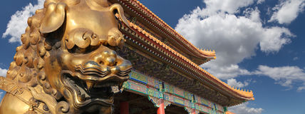 Bronze Chinese dragon statue in the Forbidden City. Beijing, China Stock Photos