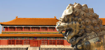 Bronze Chinese dragon statue in the Forbidden City. Beijing, China Royalty Free Stock Photography