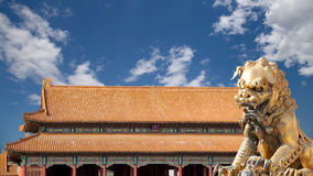A bronze Chinese dragon statue in the Forbidden City. Beijing Royalty Free Stock Image