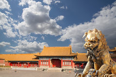 A bronze Chinese dragon statue in the Forbidden City. Beijing Stock Photography