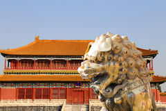A bronze Chinese dragon statue in the Forbidden City. Beijing Royalty Free Stock Photos