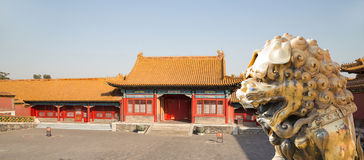 A bronze Chinese dragon statue in the Forbidden City. Beijing Stock Photos