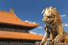 A bronze Chinese dragon statue in the Forbidden City. Beijing Royalty Free Stock Photo