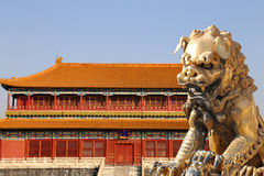A bronze Chinese dragon statue in the Forbidden City. Beijing Stock Photo