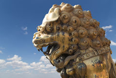 A bronze Chinese dragon statue in the Forbidden City. Beijing Royalty Free Stock Photography