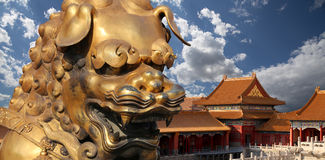 Bronze Chinese dragon statue in the Forbidden City. Beijing, China Stock Images